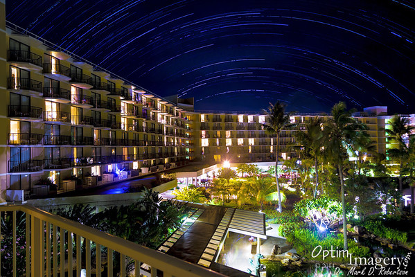 MARCH 30, 2014:  STAR TRAILS FROM HYATT BALCONY