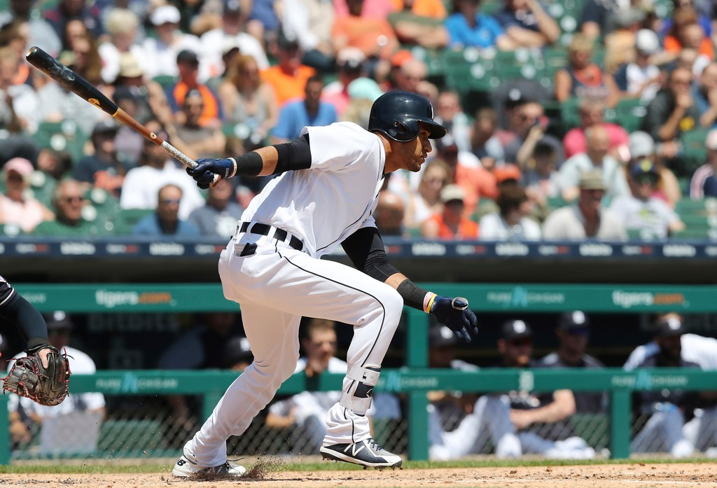 . Detroit Tigers\' Victor Reyes bats during the fifth inning of a baseball game against the Cleveland Indians, Wednesday, May 16, 2018, in Detroit. (AP Photo/Carlos Osorio)