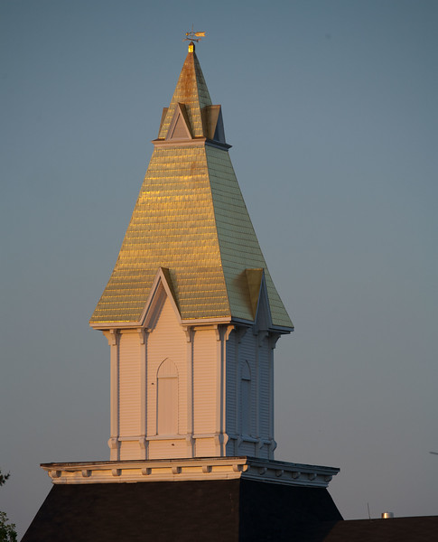 The steeple on the Price Memoril Building.