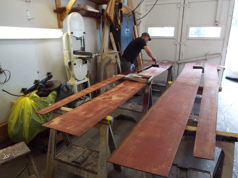 Painting the cockpit liner to seal the wood before it gets upholstered.