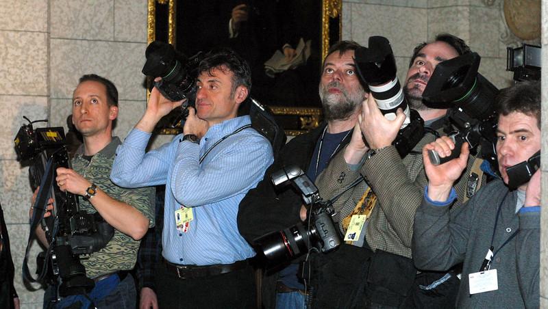 Cameras waiting for Prime Minister Stephen Harper February 2004. Jake Wright-Hill Times