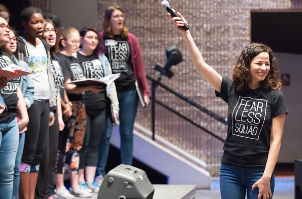 04/23/18 Wesley Bunnell | Staff Broadway star Mandy Gonzalez conducted a workshop with students from New Britain High School, CCSU and CREC on Monday at New Britain High School. The workshop titled Broadway on Mill Street was a partnership with CCSU, the Ana Grace Project and CSDNB and CREC. Gonzalez is known for portraying Nina Rosario in the musical In the Heights, Elphaba in Wicked and is currently starting in Hamilton.