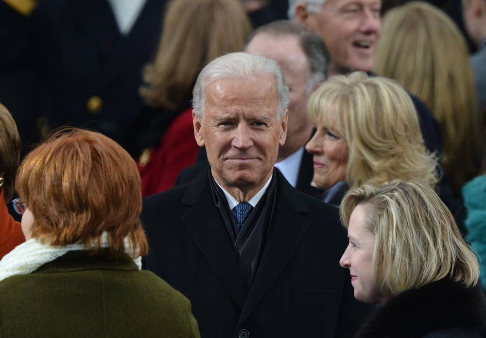 Description of . Vice President Joe Biden arrives for the 57th Presidential Inauguration ceremonial swearing-in of President Barack Obama at the US Capitol on January 21, 2013 in Washington, DC. The oath is to be administered by US Supreme Court Chief Justice John Roberts, Jr.    JEWEL SAMAD/AFP/Getty Images