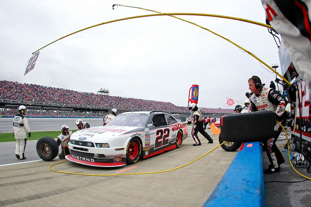 . TALLADEGA, AL - MAY 04:  Joey Logano, driver of the #22 Discount Tire Ford, pits during the NASCAR Nationwide Series Aaron\'s 312 at Talladega Superspeedway on May 4, 2013 in Talladega, Alabama.  (Photo by Sean Gardner/Getty Images)