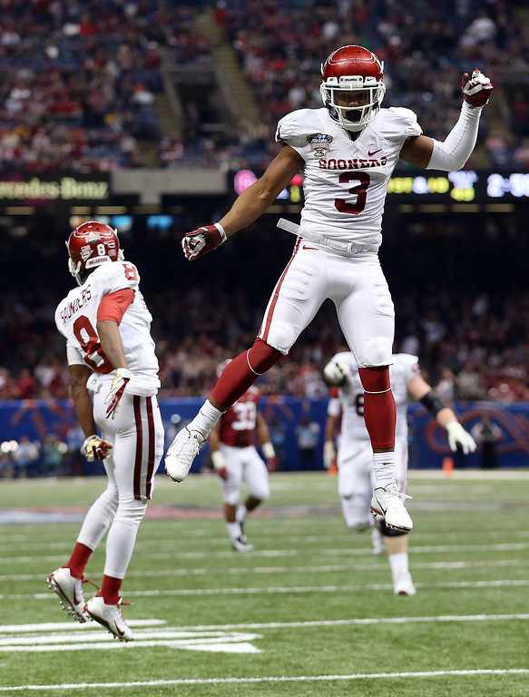 . NEW ORLEANS, LA - JANUARY 02:  Sterling Shepard #3 of the Oklahoma Sooners celebrates against the Alabama Crimson Tide during the Allstate Sugar Bowl at the Mercedes-Benz Superdome on January 2, 2014 in New Orleans, Louisiana.  (Photo by Sean Gardner/Getty Images)