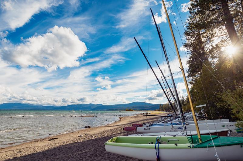 Sailboats on beach at Lake Tahoe