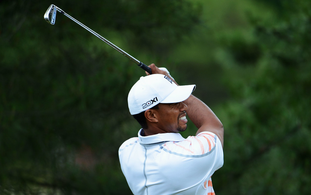 . Tiger Woods of the United States hits his tee shot on the eighth hole during Round Two of the 113th U.S. Open at Merion Golf Club on June 14, 2013 in Ardmore, Pennsylvania.  (Photo by David Cannon/Getty Images)