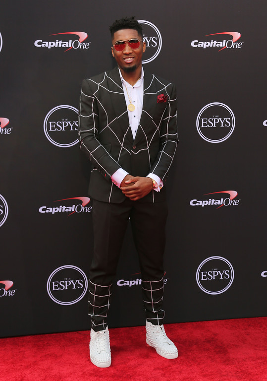 . Denver Nuggets\' Donovan Mitchell arrives at the ESPY Awards at Microsoft Theater on Wednesday, July 18, 2018, in Los Angeles. (Photo by Willy Sanjuan/Invision/AP)