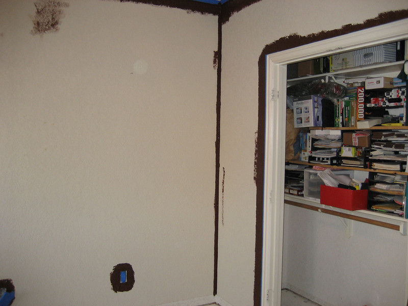 Putting brown base coat on. It's flat Behr Bison Brown