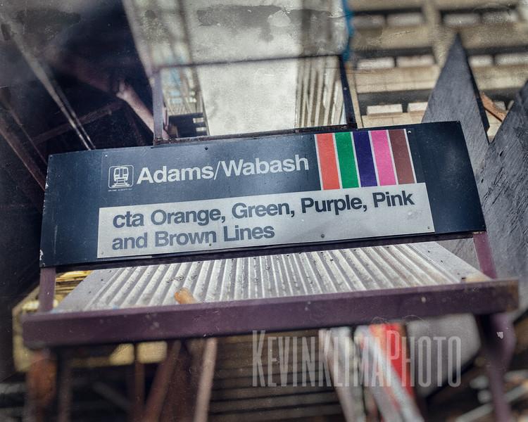 Adams / Wabash - CTA Orange, Green, Purple, Pink and Brown Lines