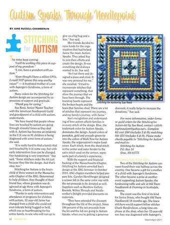 Autism Speaks through Needlepoint, Needlepoint Now, March/April 2011