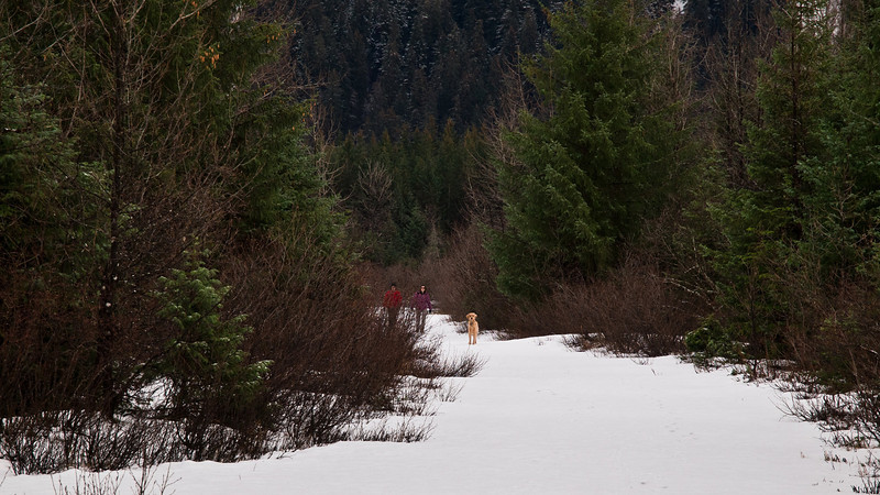 A couple winter walkers in the Dredge Lake area.