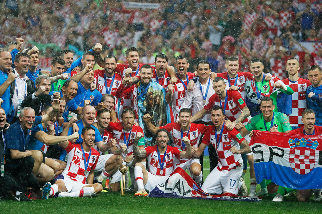 . Croatian players celebrate their second place after the final match between France and Croatia at the 2018 soccer World Cup in the Luzhniki Stadium in Moscow, Russia, Sunday, July 15, 2018. (AP Photo/Natacha Pisarenko)