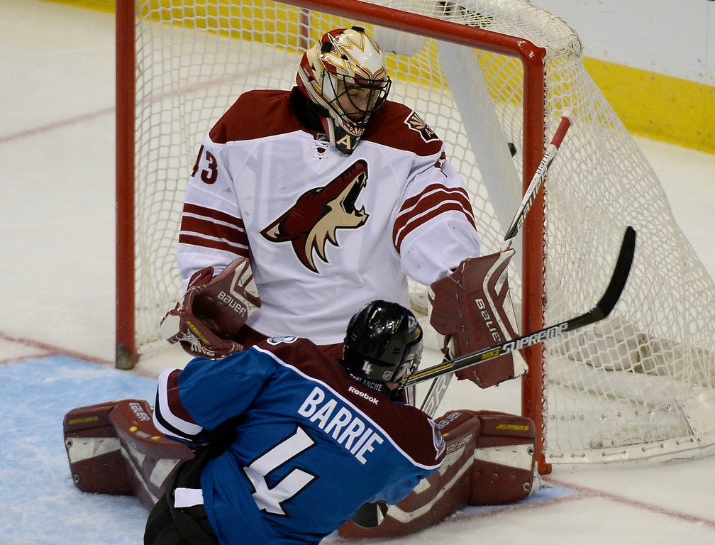 . DENVER, CO - FEBRUARY 16: Colorado Avalanche defenseman Tyson Barrie (4) takes a shot on Arizona Coyotes goalie Mike McKenna (43) and hits the back of the net or a goal during the second period February 16, 2015 at Pepsi Center. (Photo By John Leyba/The Denver Post)