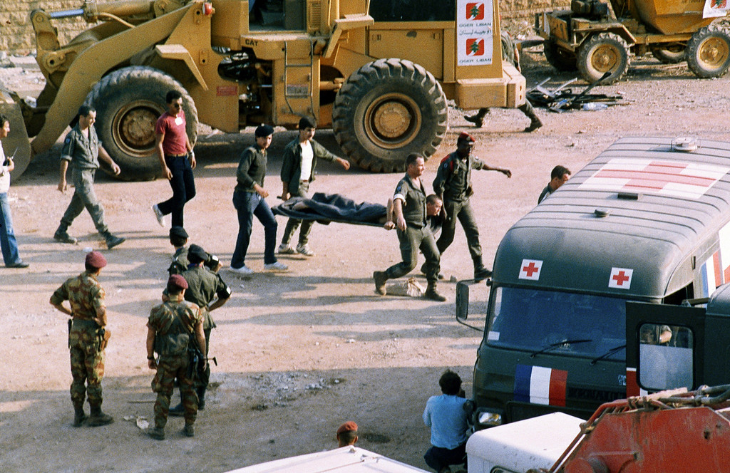 . This Sunday, Oct. 23, 1983, file photo, shows the scene at the U.S. Marine base near Beirut airport, Lebanon, following a suicide truck blast that destroyed the base and caused a huge death toll. (AP Photo, File)