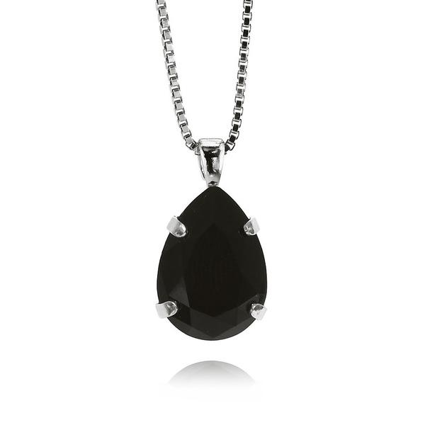 Mini Drop Necklace / Jet Rhodium