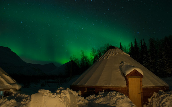 Northern Lights over Camp Tamok, Norway.