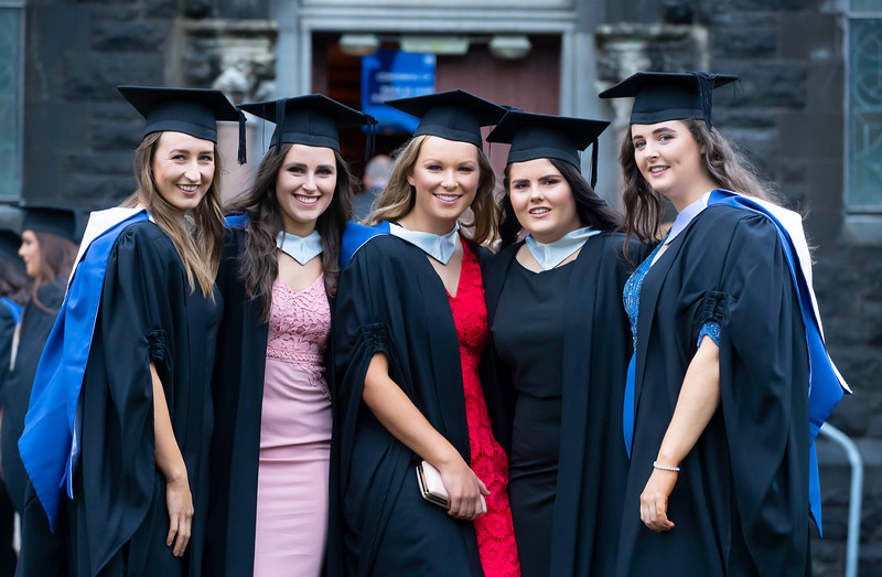01/11/2019. Waterford Institute of Technology (WIT) Conferring Ceremonies. Pictured are Claire Somers-Cashen, Screen, Co. Wexford, Stephanie Shine Limerick, Ailish Osbourne Kildare, Rachel Cass Laois and Danielle Mulligan Gorey. Picture: Patrick Browne