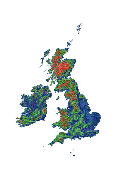 Elevation map of the British Isles