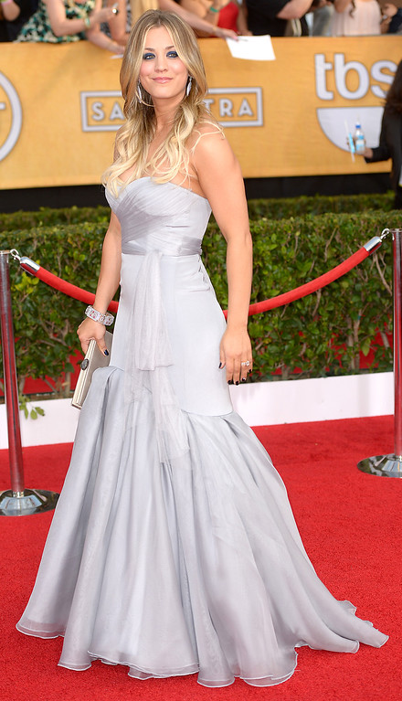 . Kaley Cuoco arrives at the 20th Annual Screen Actors Guild Awards  at the Shrine Auditorium in Los Angeles, California on Saturday January 18, 2014 (Photo by Michael Owen Baker / Los Angeles Daily News)