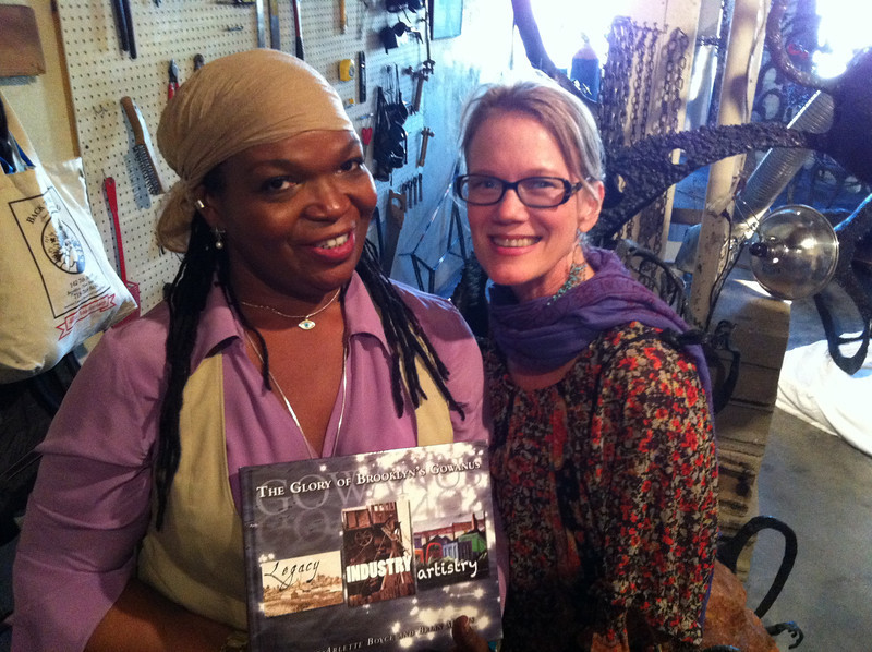 Me and Leslie Boyce, author of the Gowanus River Project book, in a Gowanus art district studio