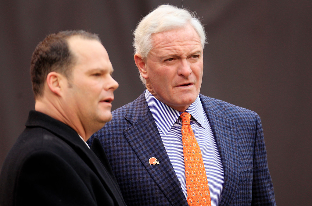 . Cleveland Browns owner Jimmy Haslam, right, talks with general manager Tom Heckert before an NFL football game between the Browns and the Baltimore Ravens Sunday, Nov. 4, 2012, in Cleveland. (AP Photo/Tony Dejak)