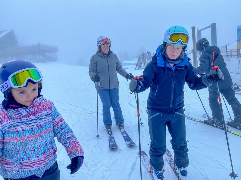 Focused ski getting readying
