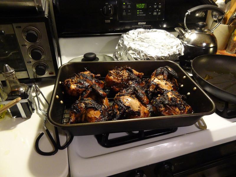 Grilled jerk cornish hens.