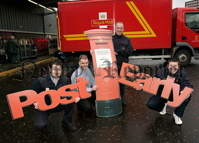 Local Potmen, Kevin O'Hare, Martin McNamee, Eamonn Magee and John McCamley pictured at Newry Sorting office reminding Royal Mail customers not to forget the last Posting dates for Christmas. 06W48N8