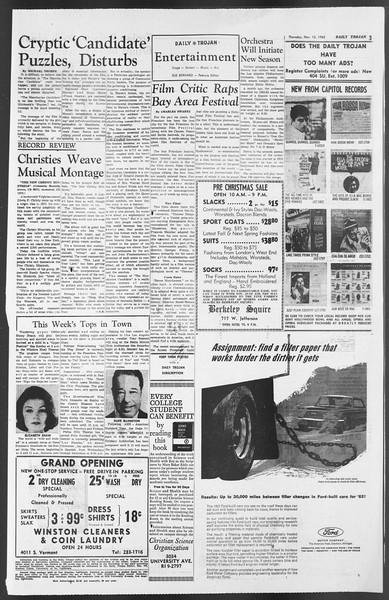 Daily Trojan, Vol. 54, No. 37, November 15, 1962