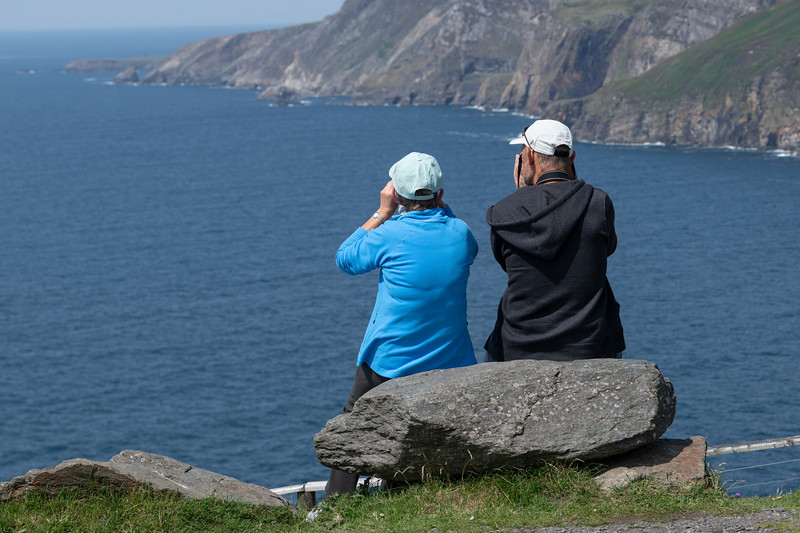 Tourists enjoying sea view, Carrick, County Donegal, Republic of Ireland