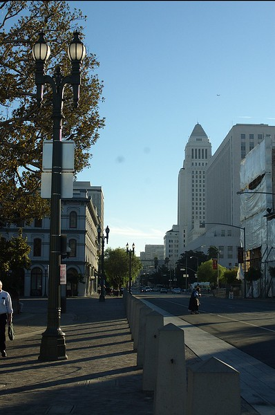 View down Main St. and of City Hall from north side of plaza.