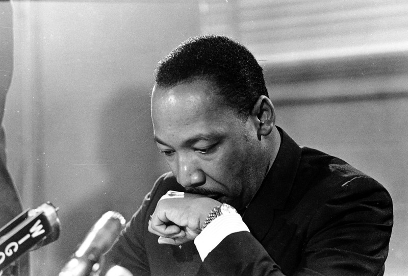 . Dr. Martin Luther King Jr. is shown at a press conference in Atlanta, Ga., in this April 25, 1967 file photo. King\'s birthday will be observed nationally Monday, Jan. 21, 2002.  (AP Photo/File)