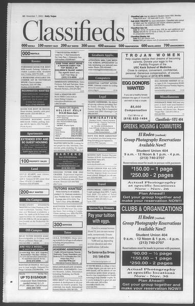 Daily Trojan, Vol. 144, No. 50, November 07, 2001