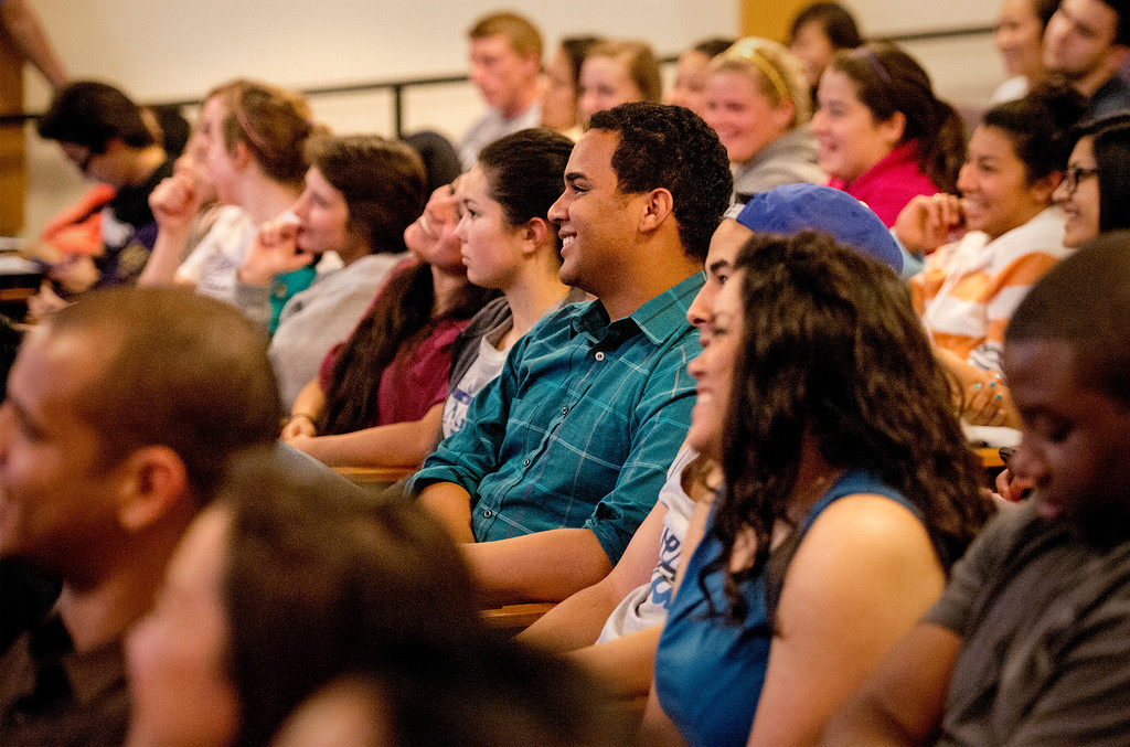 . Former All-American college wrestler and current Columbia University wrestling coach Hudson Taylor speaks to Whittier College students about homophobia in sports March 13, 2013.   (SGVN/Staff photo by Leo Jarzomb)