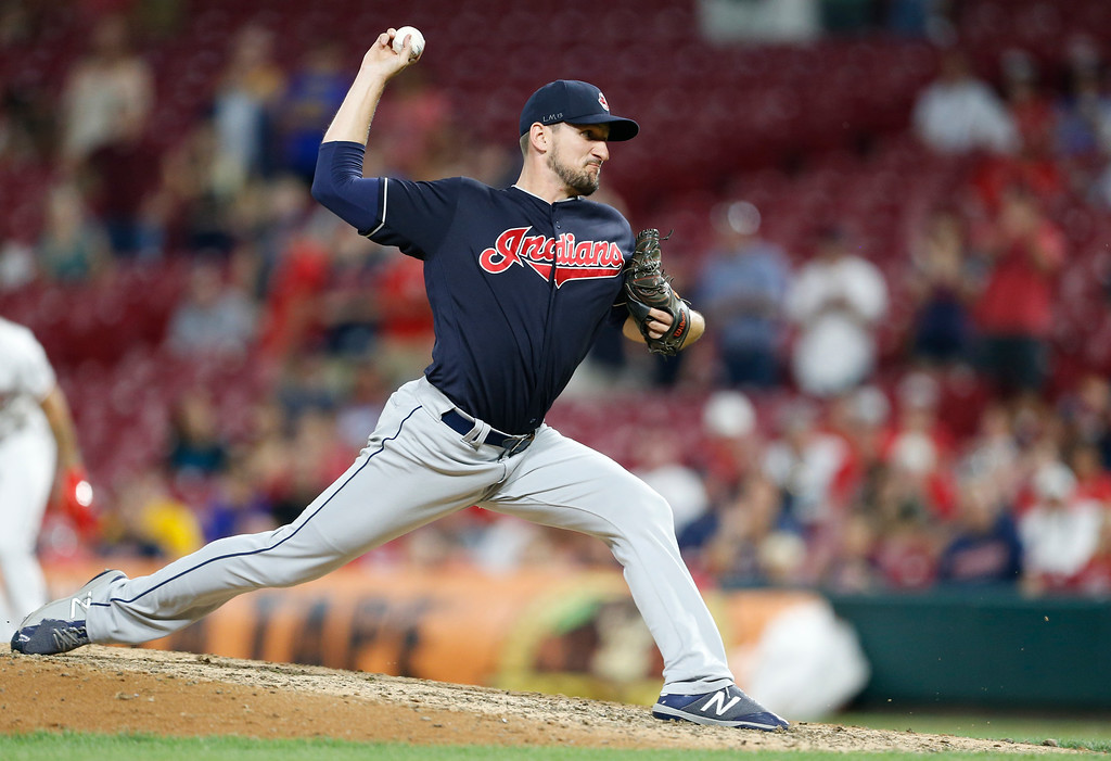 . Cleveland Indians relief pitcher Dan Otero throws against the Cincinnati Reds during the ninth inning of a baseball game, Monday, Aug. 13, 2018, in Cincinnati. The Indians won 10-3. (AP Photo/Gary Landers)