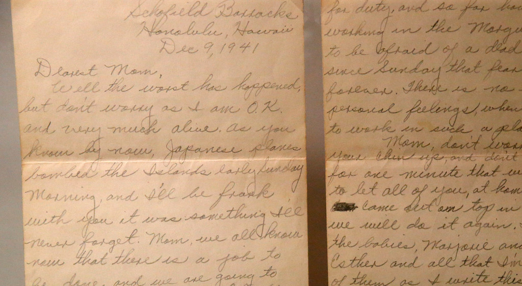 ". A letter of a serviceman who survived the attack on Pearl Harbor, to his mother, is part of the permanent exhibit ""Salute to the Home Front\"" at the National World War II Museum which will open to the public this Saturday, in New Orleans, Monday, June 5, 2017. The exhibit tells the home front story from the 1920s to the development of the atomic bomb. (AP Photo/Gerald Herbert)"