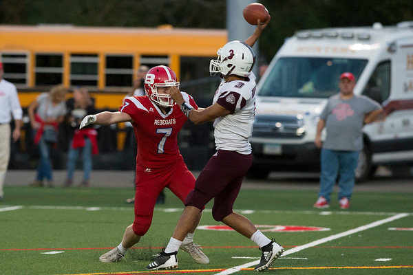 09/20/19 Wesley Bunnell | StaffrrBerlin football defeated Bulkeley on Friday night at Sage Park. Danny Lynch (7) rushes the quarterback.