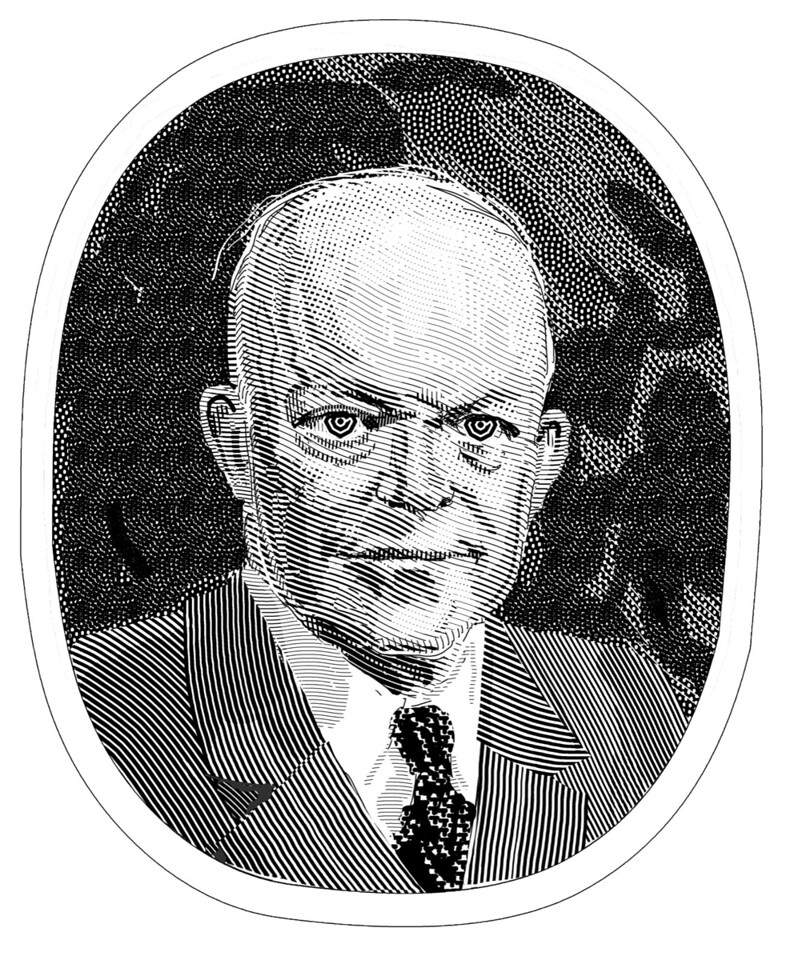 Illustration from the Summer 2012 issue of the Claremont Review of Books (portrait of Eisenhower)