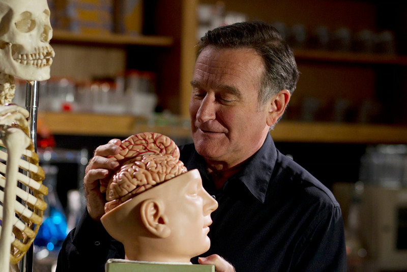 . Robin Williams at UC Berkeley Life Sciences Lab.  (Photo by Phil Bray/Provided by Discovery Communications)