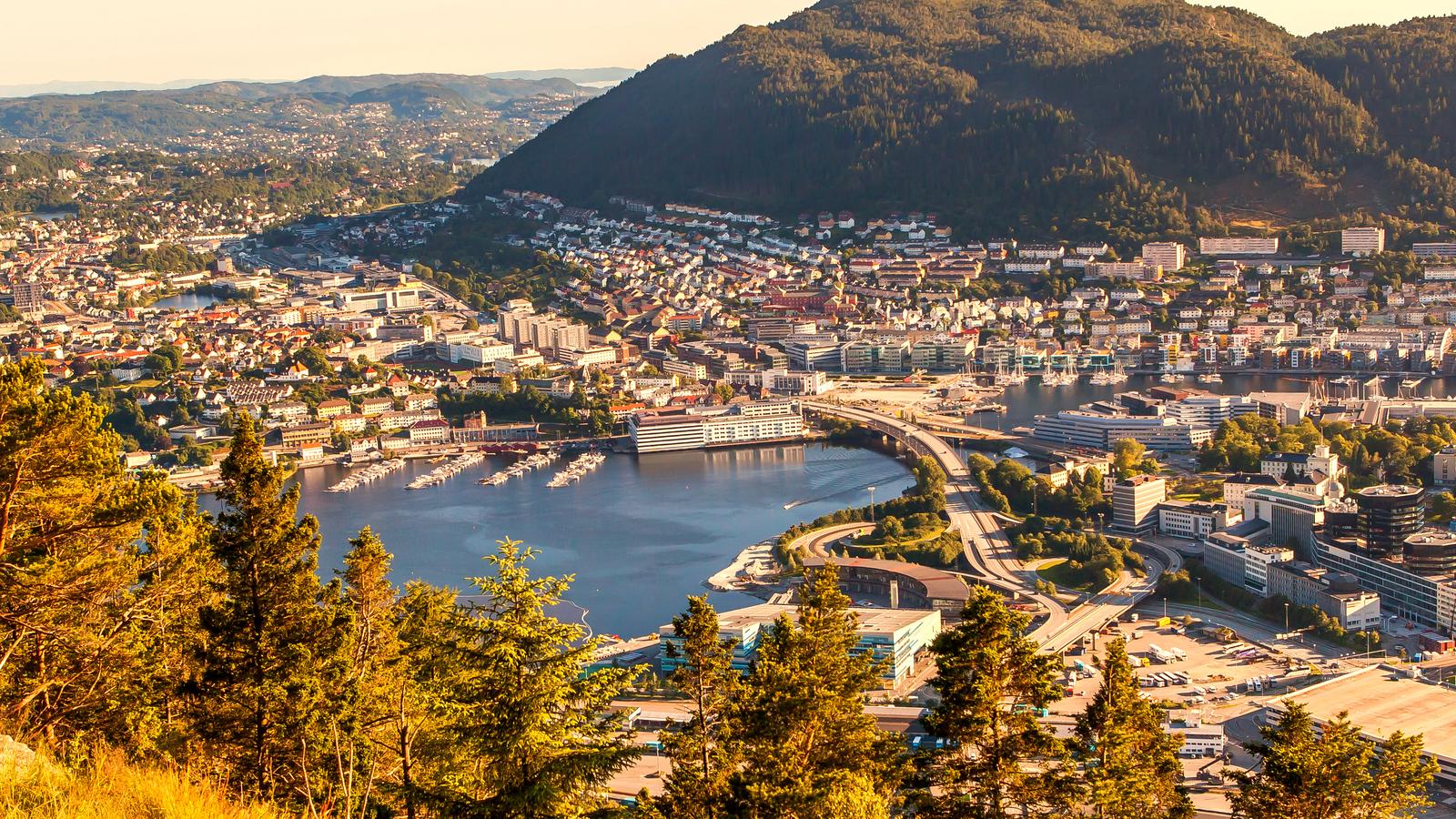 挪威卑尔根市,登山俯瞰