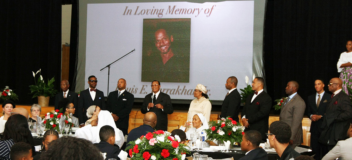 The Honorable Minister Louis Farrakhan gave thanks to the love shown to the Farrakhan family at the repast for his son, Louis, Jr.   Photo: Andrea Muhammad