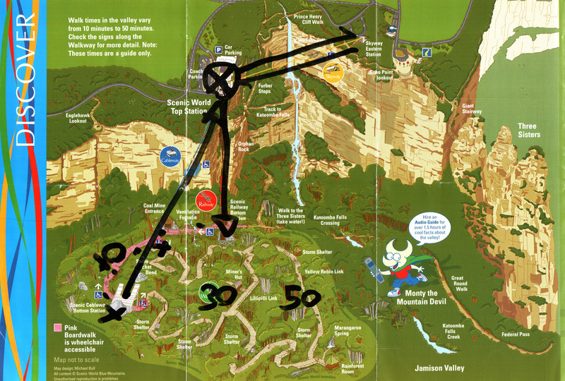 Map of Scenic World, annotated by the ticket agent.  I went down the Scenic Railway, walked all the paths of the Scenic Walkway, went up the Scenic Cableway, chickened out of the Scenic Skyway and instead walked the Prince Henry Cliff Walk to just beyond the Skyway Eastern Station and back.