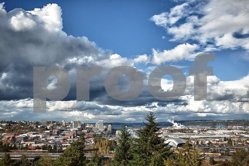 Downtown Tacoma, Commencement Bay, Port of Tacoma and tide flats, Tacoma, WA. 2303