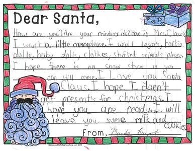 Letters to Santa, Mrs. Fife's third grade, 12/7/2017
