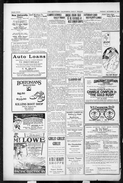 Daily Trojan, Vol. 17, No. 33, October 30, 1925