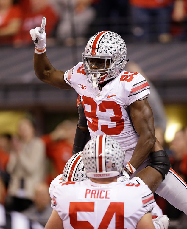 . Ohio State\'s Terry McLaurin celebrates a 84-yard touchdown reception during the first half of the Big Ten championship NCAA college football game against Wisconsin, Saturday, Dec. 2, 2017, in Indianapolis. (AP Photo/AJ Mast)