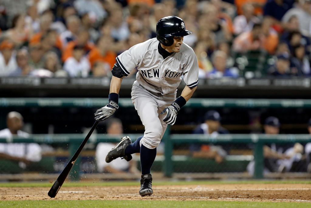 . New York Yankees\' Ichiro Suzuki grounds out against the Detroit Tigers in the seventh inning of a baseball game in Detroit Tuesday, Aug. 26, 2014. (AP Photo/Paul Sancya)