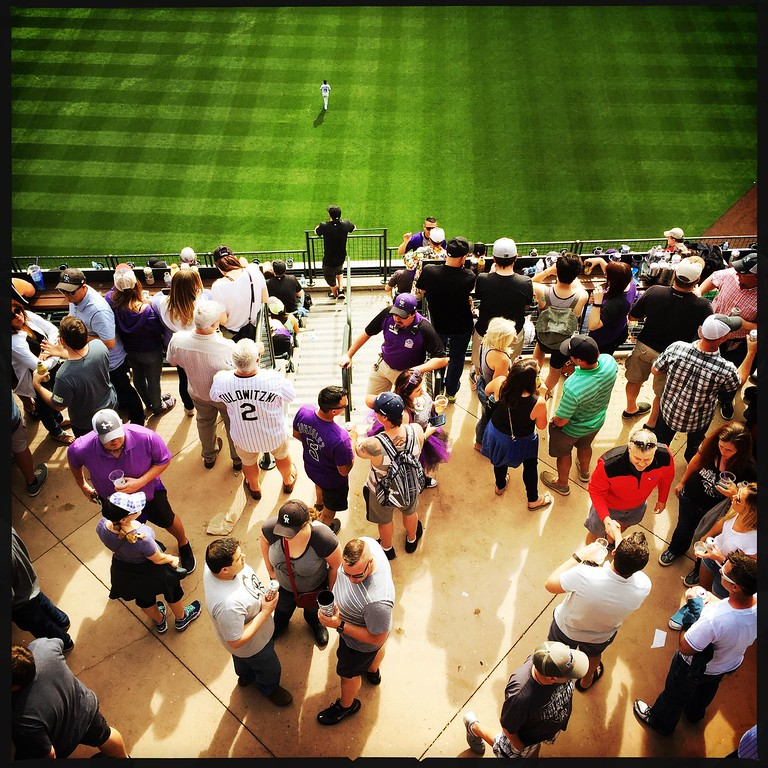 . Like drinking beer, standing in lines and pretending to watch baseball? The Party Deck has you covered. #openingday #rockies � @shootsethshoot  Denver post photographer Seth McConnell covered the Colorado Rockies opening day, on April 8, 2016, using the photo app Hipstamatic and publishing on Instagram.