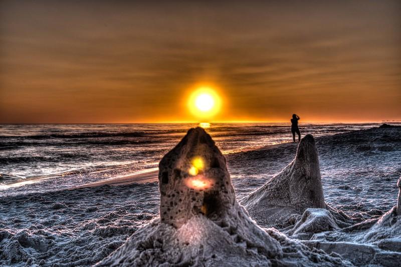 Orange Sand Castle Sunset